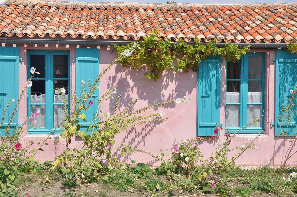 Ile d'Aix, maison typique et roses trémières