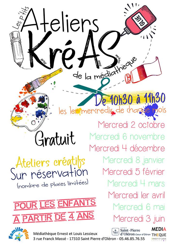 Ateliers KréAS, médiathèque de St Pierre d'Oléron